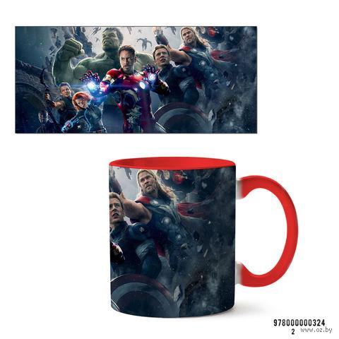 """Кружка """"Мстители из вселенной MARVEL"""" (красная; арт. 324) — фото, картинка"""