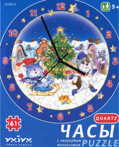 """Пазл-часы """"Новогодние забавы"""" (61 элемент)"""
