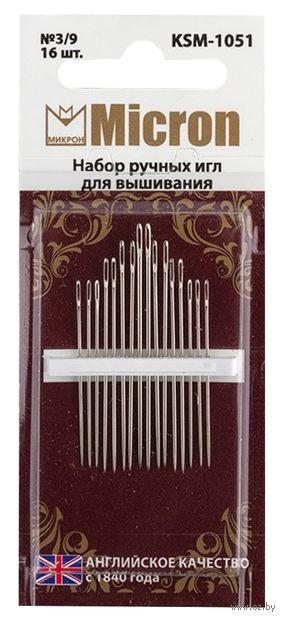 Иглы для вышивания №3-9 (16 шт.; арт. KSM-1051) — фото, картинка
