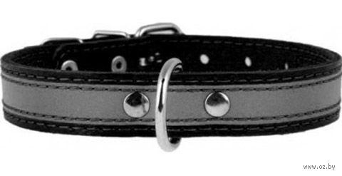 Ошейник из натуральной кожи со светоотражающей лентой (48-63 см; черный) — фото, картинка