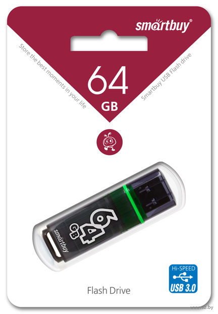 USB Flash Drive 64Gb SmartBuy Glossy series (Dark Grey)