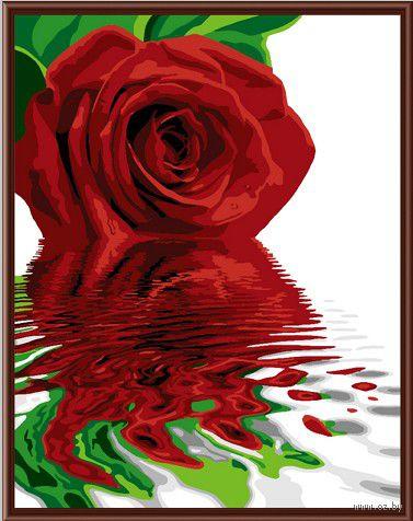 "Картина по номерам ""Красная роза"" (400х500 мм; цветной холст)"