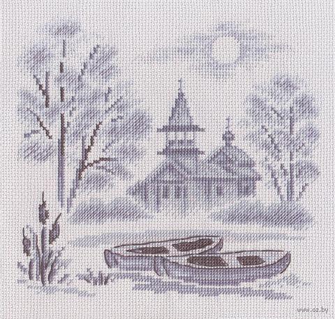 """Вышивка крестом """"Туман над рекой"""" (210х210 мм) — фото, картинка"""