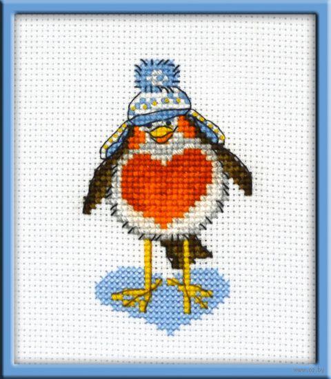 """Вышивка крестом """"Влюбленный птиц"""" (60х90 мм) — фото, картинка"""