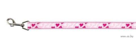 """Поводок для собак """"Modern Art Rose Heart"""" (розовый, размер XS-S, 120 см, арт. 15888)"""