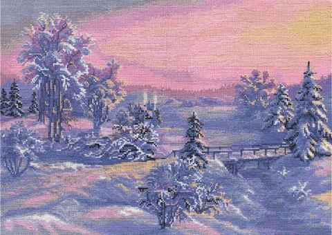 """Вышивка крестом """"Зимняя речка"""" (425х300 мм) — фото, картинка"""