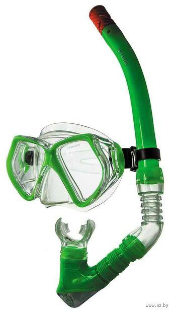 Набор для плавания (маска+трубка; лайм; арт. 24101) — фото, картинка