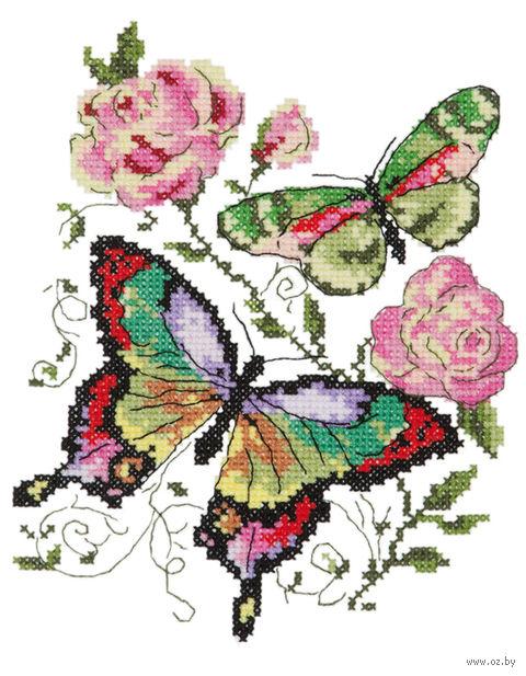 """Вышивка крестом """"Бабочки и розы"""""""