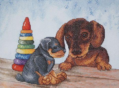"""Вышивка крестом """"Два щенка"""""""