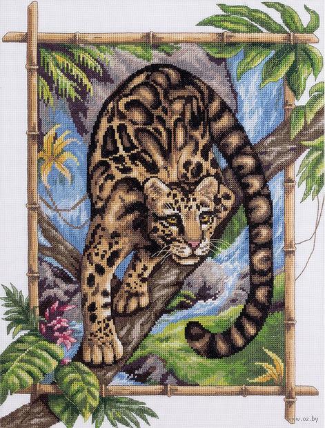 """Вышивка крестом """"Дымчатый леопард"""" (270х355 мм) — фото, картинка"""