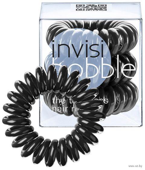 """Набор резинок-браслетов для волос """"Invisibobble True Black"""" (3 шт.) — фото, картинка"""