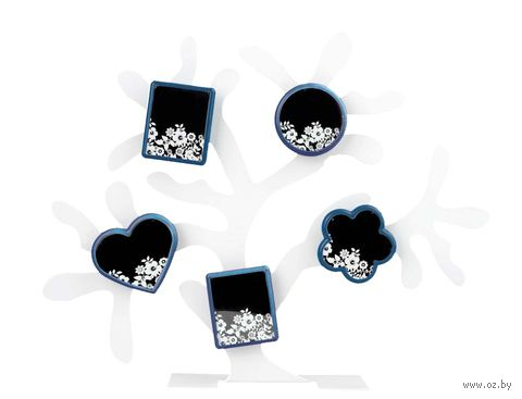 Набор. 5 фоторамок на магнитах, на подставке в виде дерева (цвет фоторамок: синий)