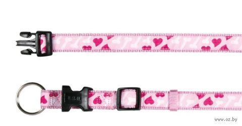 """Ошейник нейлоновый для собак """"Modern Art Collar Rose Hearts"""" (размер M-L, 35-55 см, розовый, арт. 15968)"""