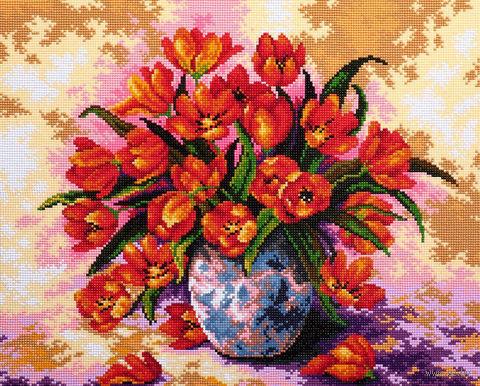 """Алмазная вышивка-мозаика """"Букет тюльпанов"""" (550х440 мм) — фото, картинка"""