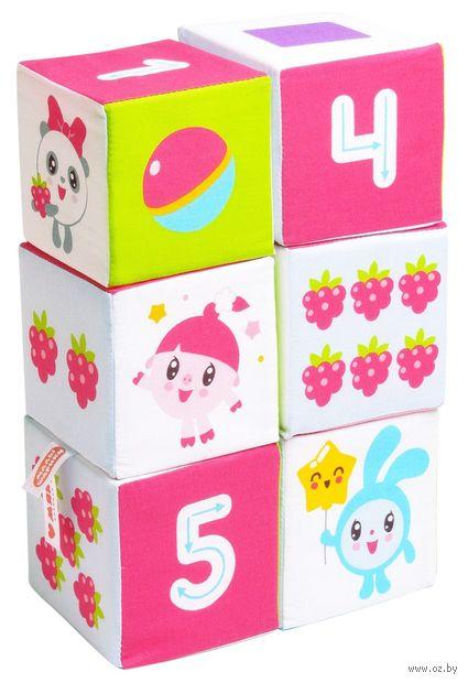 """Кубики мягкие """"Малышарики. Учим формы, цвет и счет"""" (6 шт.) — фото, картинка"""