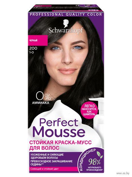 "Краска-мусс для волос ""Perfect Mousse"" тон: 200, черный — фото, картинка"