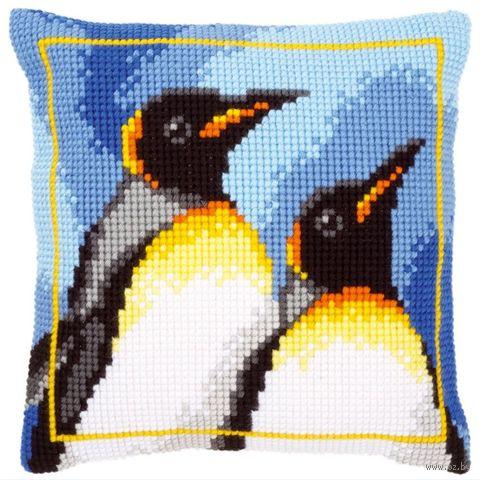 """Вышивка крестом """"Подушка. Королевские пингвины"""" (400х400 мм) — фото, картинка"""