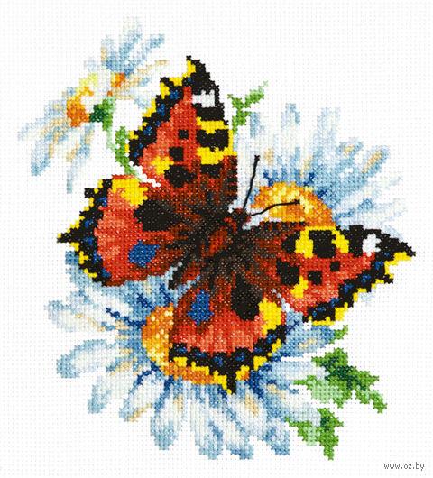 """Вышивка крестом """"Бабочка и ромашки"""""""