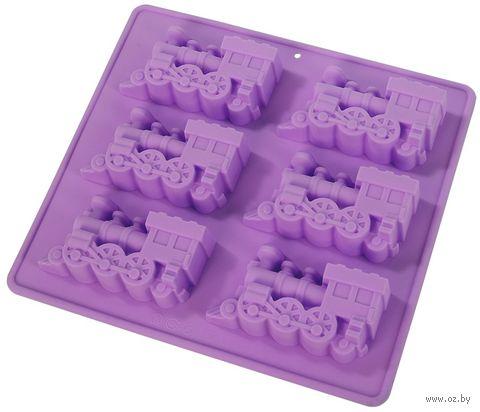 """Форма для выпекания кексов силиконовая """"Паровозы"""" (220х200х25 мм; лиловая) — фото, картинка"""