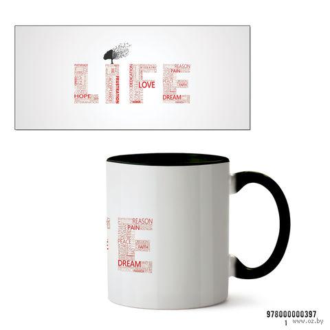 """Кружка """"Life"""" (черная) — фото, картинка"""