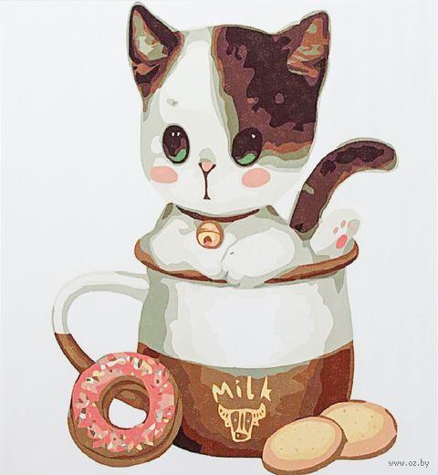 """Картина по номерам """"Котенок в чашке №1"""" (300х300 мм)"""