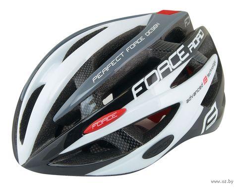 """Шлем велосипедный """"Road"""" (черно-бело-серый; р. S-M) — фото, картинка"""
