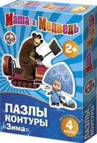 "Пазл-контур ""Маша и Медведь. Зима"" (4 элемента)"