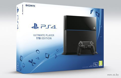 """Игровая приставка Sony PlayStation 4 """"PS4"""" 1 TB Черная РСТ + игра «Driveclub» + игра «Одни из нас. Обновленная версия»"""