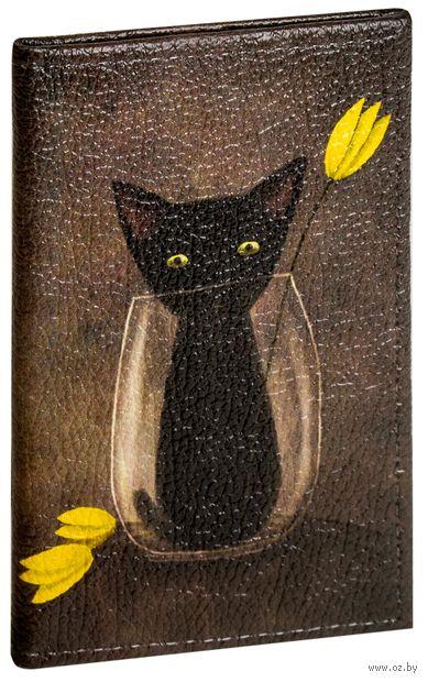 """Обложка на паспорт """"Черный кот"""""""