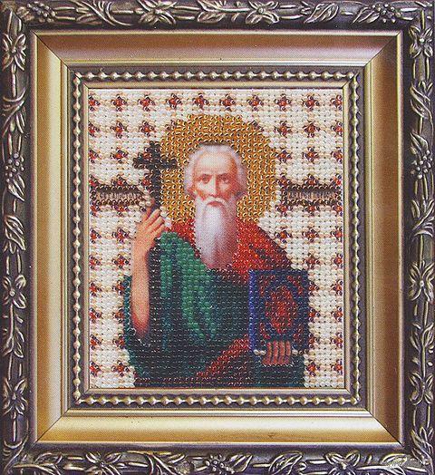 """Вышивка бисером """"Икона святой апостол Андрей Первозванный"""""""