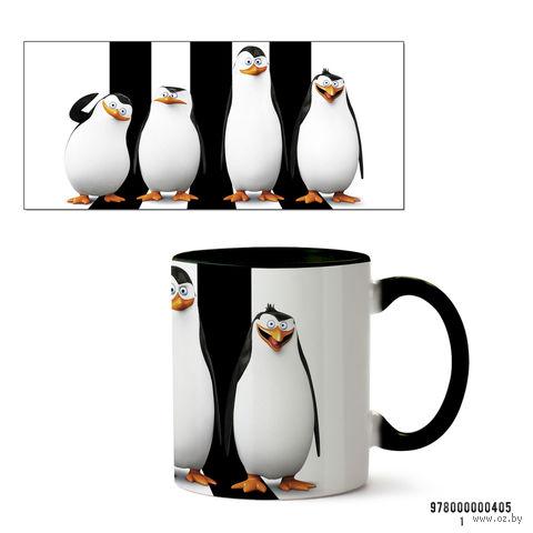 """Кружка """"Пингвины Мадагаскара"""" (черная; арт. 405) — фото, картинка"""