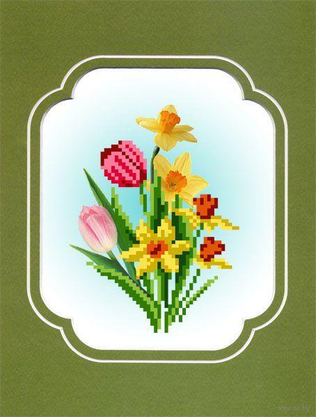 """Вышивка бисером """"Весенний букет"""" (с паспарту)"""