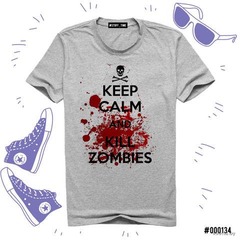 "Футболка серая унисекс ""Kill Zombies"" (L; арт. 134) — фото, картинка"