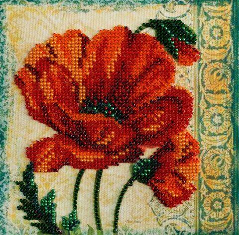 "Вышивка бисером ""Красный бархат"" (150х150 мм) — фото, картинка"