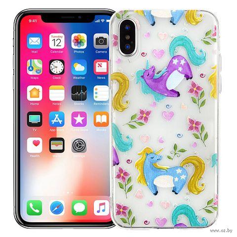 "Чехол для iPhone X/XS ""Flowery unicorns"" — фото, картинка"