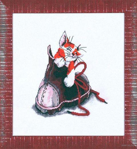 """Вышивка крестом """"Котёнок в ботинке"""" (250х220 мм) — фото, картинка"""