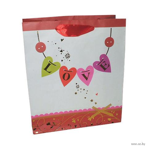 """Пакет бумажный подарочный """"Сердце"""" (33х43х10 см; арт. XD-2385-2)"""