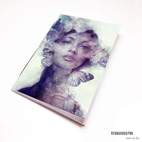 """Блокнот """"Девушка с бабочками"""" (А7; арт. 796) — фото, картинка"""