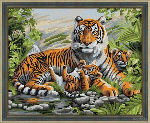 """Картина по номерам """"Тигриная семья"""" (400х500 мм) — фото, картинка"""