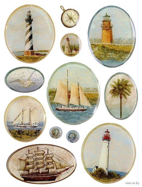 """Стикеры для скрапбукинга """"Путешествие. Маяки и корабли"""""""