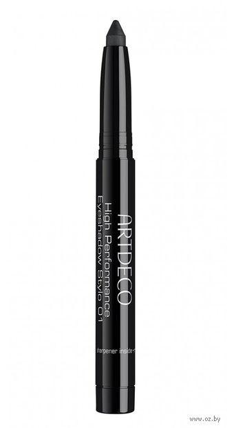 """Тени-карандаш для век """"High Performance Eyeshadow Stylo"""" (тон: 01, black) — фото, картинка"""