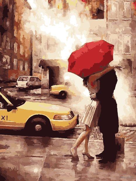 """Картина по номерам """"Прощание под дождем"""" (400х500 мм) — фото, картинка"""