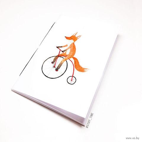 """Блокнот белый """"Лиса на велосипеде"""" А5 (794)"""