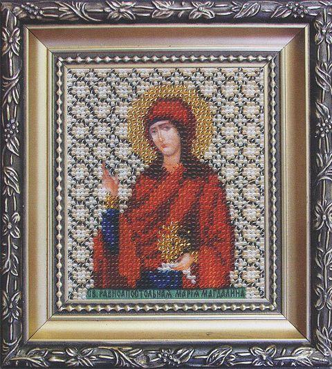 """Вышивка бисером """"Святая равноапостольная Мария-Магдалина"""" (90х110 мм) — фото, картинка"""