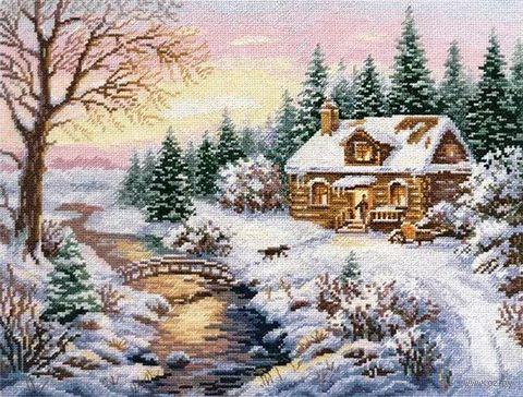 "Вышивка крестом ""Зима. К вечеру"" (380х300 мм) — фото, картинка"
