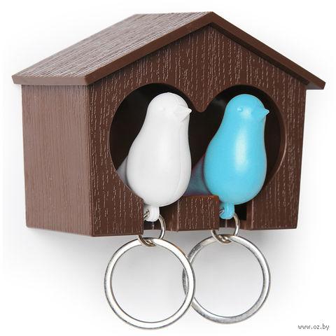 """Брелок-свисток и держатель двойной для ключей """"Sparrow"""" (коричневый/белый/голубой)"""