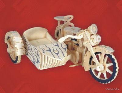 """Сборная деревянная модель """"Мотоцикл с коляской"""" — фото, картинка"""