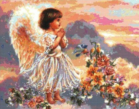 """Вышивка крестом """"Ангел с цветами"""" (265x340 мм) — фото, картинка"""