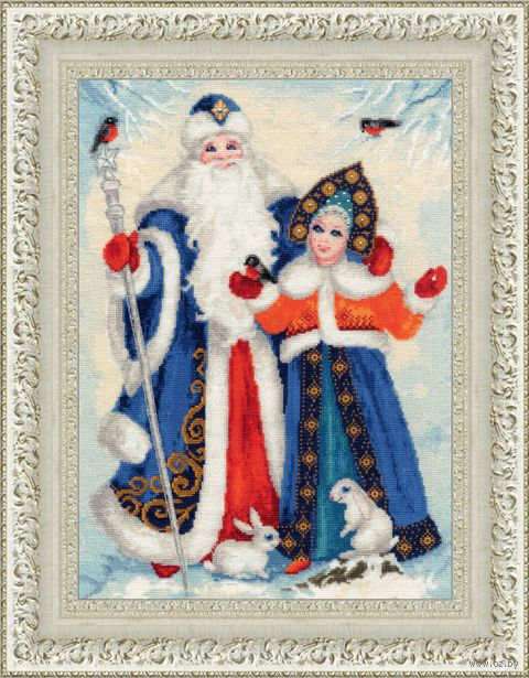 "Вышивка крестом ""Дед Мороз и Снегурочка"" (390х255 мм) — фото, картинка"
