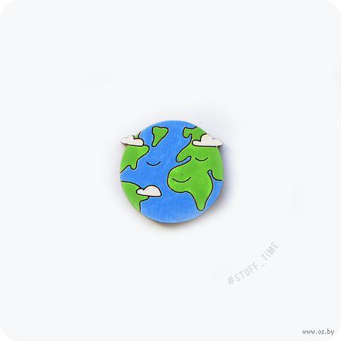 """Значок деревянный """"Планета Земля"""" (арт. 527) — фото, картинка"""